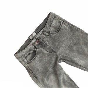 SANDWICH Grey acid wash jeans with red accents
